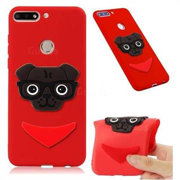 Glasses Dog Soft 3D Silicone Case for Huawei Honor 7C - Red