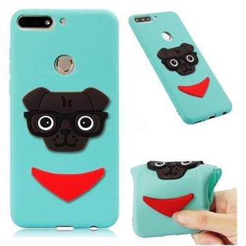 Glasses Dog Soft 3D Silicone Case for Huawei Honor 7C - Sky Blue