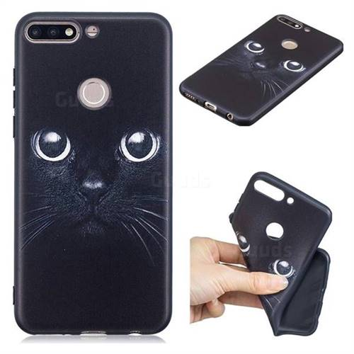 Bearded Feline 3D Embossed Relief Black TPU Cell Phone Back Cover for Huawei Honor 7C