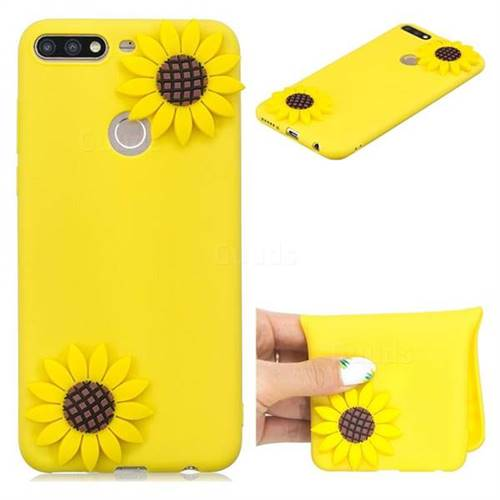 Yellow Sunflower Soft 3D Silicone Case for Huawei Honor 7C