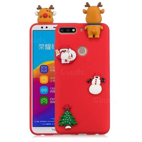 Red Elk Christmas Xmax Soft 3D Silicone Case for Huawei Honor 7C