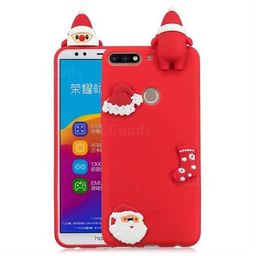 Red Santa Claus Christmas Xmax Soft 3D Silicone Case for Huawei Honor 7C