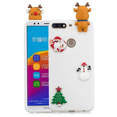 White Elk Christmas Xmax Soft 3D Silicone Case for Huawei Honor 7C