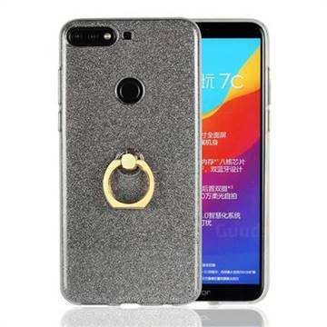 Luxury Soft TPU Glitter Back Ring Cover with 360 Rotate Finger Holder Buckle for Huawei Honor 7C - Black