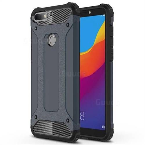 King Kong Armor Premium Shockproof Dual Layer Rugged Hard Cover for Huawei Honor 7C - Navy