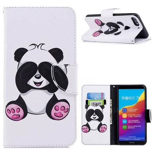 Lovely Panda Leather Wallet Case for Huawei Honor 7C