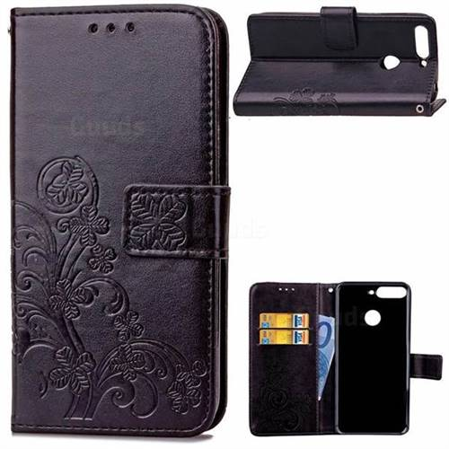 Embossing Imprint Four-Leaf Clover Leather Wallet Case for Huawei Honor 7C - Black