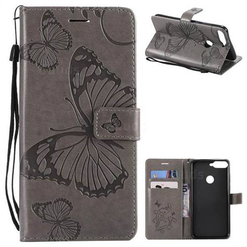 Embossing 3D Butterfly Leather Wallet Case for Huawei Honor 7C - Gray