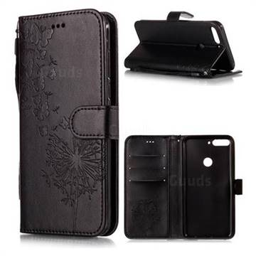 Intricate Embossing Dandelion Butterfly Leather Wallet Case for Huawei Honor 7C - Black