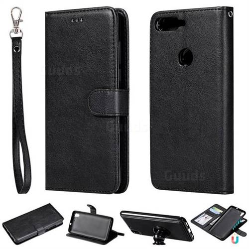 Retro Greek Detachable Magnetic PU Leather Wallet Phone Case for Huawei Honor 7C - Black