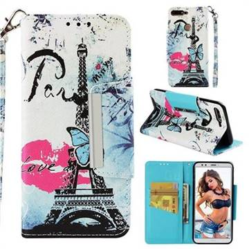 Lip Tower Big Metal Buckle PU Leather Wallet Phone Case for Huawei Honor 7C