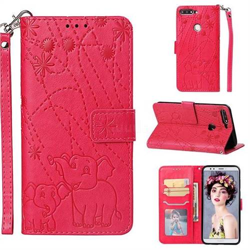 Embossing Fireworks Elephant Leather Wallet Case for Huawei Honor 7C - Red