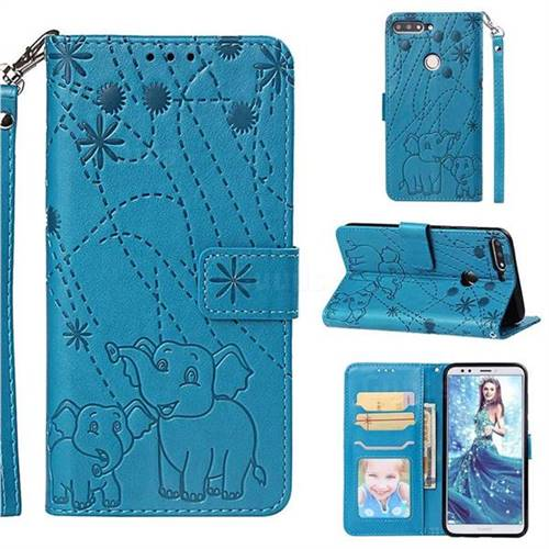 Embossing Fireworks Elephant Leather Wallet Case for Huawei Honor 7C - Blue