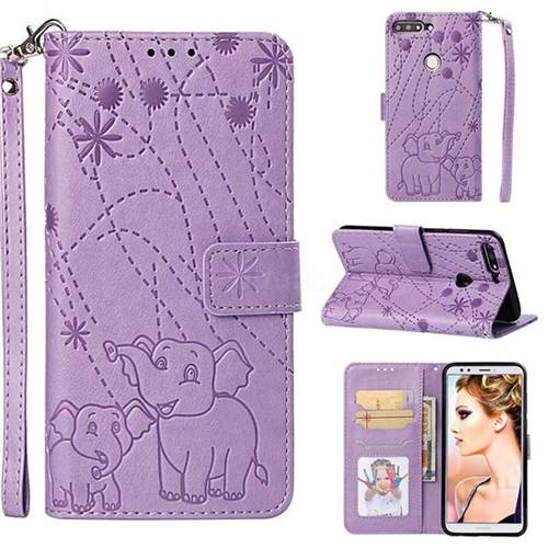 Embossing Fireworks Elephant Leather Wallet Case for Huawei Honor 7C - Purple
