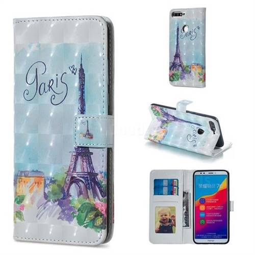 Paris Tower 3D Painted Leather Phone Wallet Case for Huawei Honor 7C