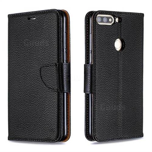 Classic Luxury Litchi Leather Phone Wallet Case for Huawei Honor 7C - Black