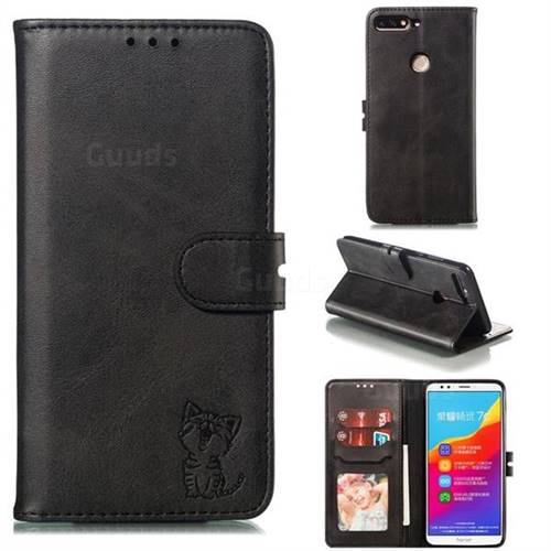 Embossing Happy Cat Leather Wallet Case for Huawei Honor 7C - Black