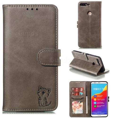Embossing Happy Cat Leather Wallet Case for Huawei Honor 7C - Gray