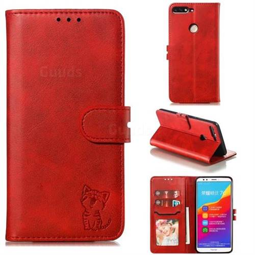 Embossing Happy Cat Leather Wallet Case for Huawei Honor 7C - Red