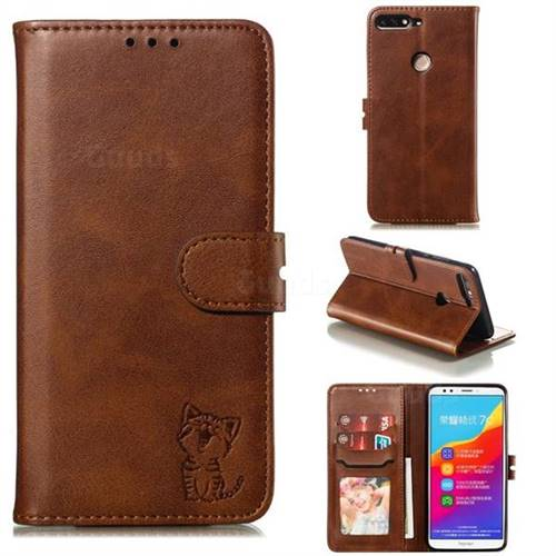 Embossing Happy Cat Leather Wallet Case for Huawei Honor 7C - Brown