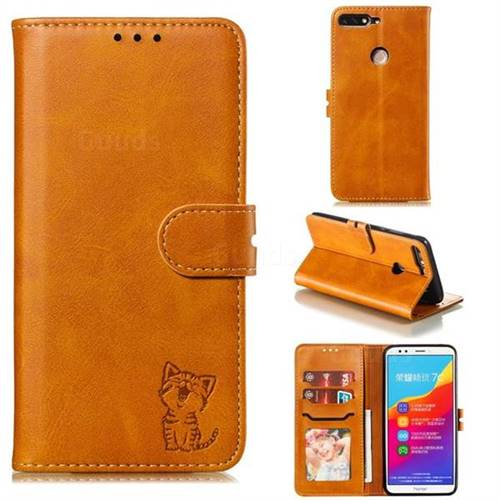 Embossing Happy Cat Leather Wallet Case for Huawei Honor 7C - Yellow