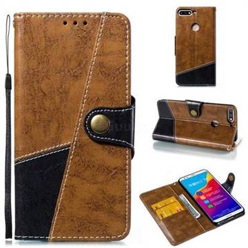 Retro Magnetic Stitching Wallet Flip Cover for Huawei Honor 7C - Brown