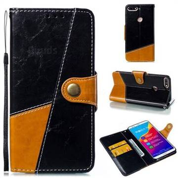 Retro Magnetic Stitching Wallet Flip Cover for Huawei Honor 7C - Black