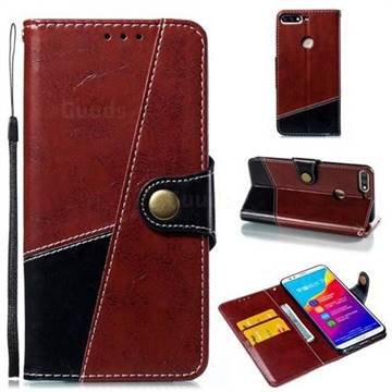 Retro Magnetic Stitching Wallet Flip Cover for Huawei Honor 7C - Dark Red