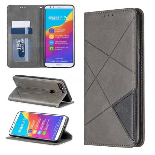 Prismatic Slim Magnetic Sucking Stitching Wallet Flip Cover for Huawei Honor 7C - Black