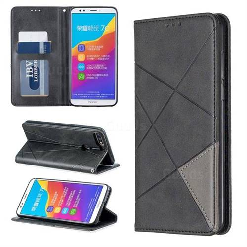 Prismatic Slim Magnetic Sucking Stitching Wallet Flip Cover for Huawei Honor 7C - Gray