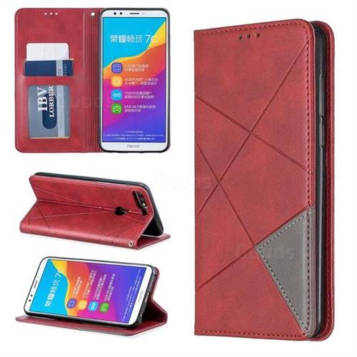 Prismatic Slim Magnetic Sucking Stitching Wallet Flip Cover for Huawei Honor 7C - Red