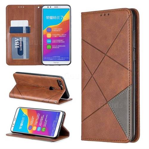 Prismatic Slim Magnetic Sucking Stitching Wallet Flip Cover for Huawei Honor 7C - Brown