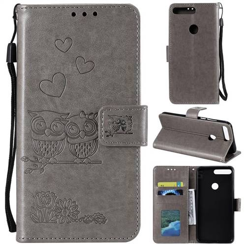 Embossing Owl Couple Flower Leather Wallet Case for Huawei Honor 7C - Gray