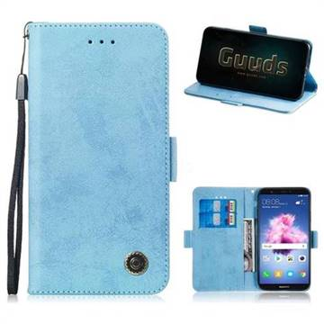 5aa1a3314cc12e Retro Classic Leather Phone Wallet Case Cover for Huawei Honor 7s - Light  Blue