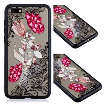 Tulip Lace Diamond Flower Soft TPU Back Cover for Huawei Honor 7X