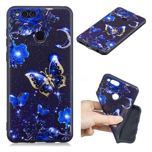 Phnom Penh Butterfly 3D Embossed Relief Black TPU Cell Phone Back Cover for Huawei Honor 7X