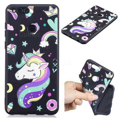 Candy Unicorn 3D Embossed Relief Black TPU Cell Phone Back Cover for Huawei Honor 7X