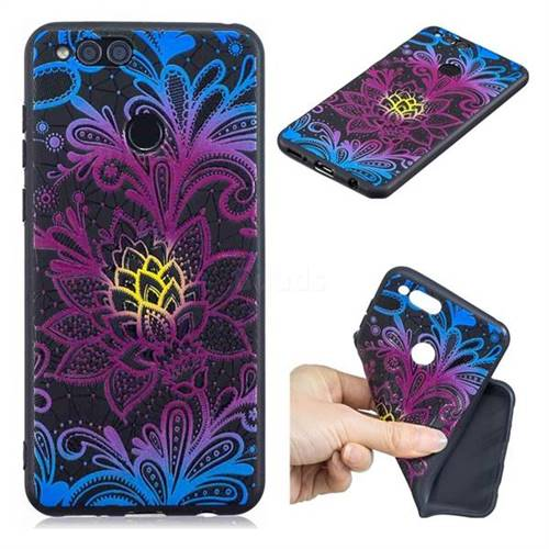 Colorful Lace 3D Embossed Relief Black TPU Cell Phone Back Cover for Huawei Honor 7X