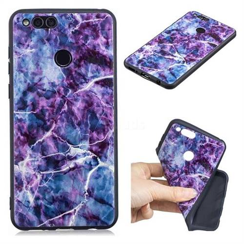 Marble 3D Embossed Relief Black TPU Cell Phone Back Cover for Huawei Honor 7X