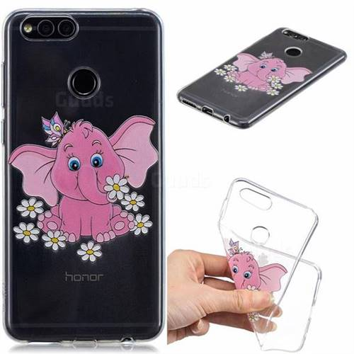 Tiny Pink Elephant Clear Varnish Soft Phone Back Cover for Huawei Honor 7X