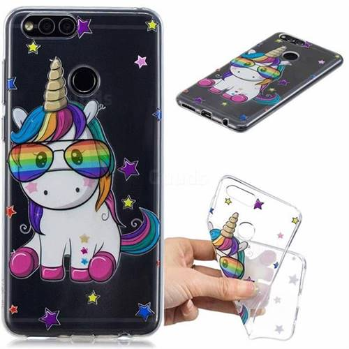 Glasses Unicorn Clear Varnish Soft Phone Back Cover for Huawei Honor 7X