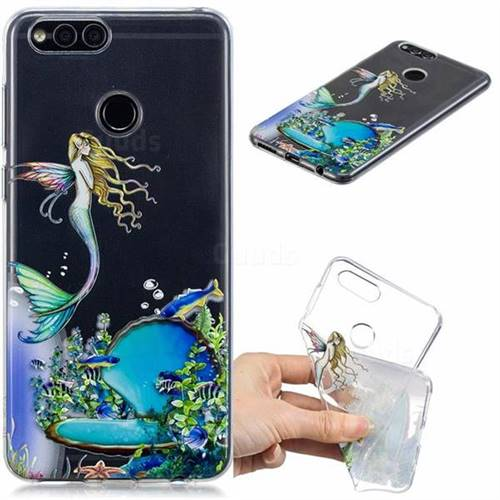 Mermaid Clear Varnish Soft Phone Back Cover for Huawei Honor 7X