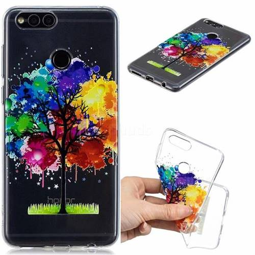 Oil Painting Tree Clear Varnish Soft Phone Back Cover for Huawei Honor 7X