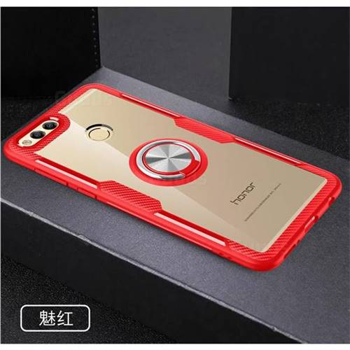 the latest 53c6e 5d89f Acrylic Glass Carbon Invisible Ring Holder Phone Cover for Huawei Honor 7X  - Charm Red