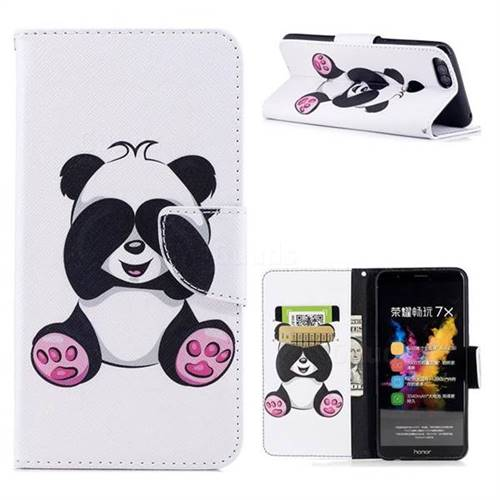 Lovely Panda Leather Wallet Case for Huawei Honor 7X