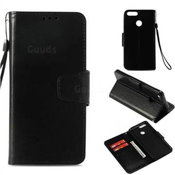 Retro Phantom Smooth PU Leather Wallet Holster Case for Huawei Honor 7X - Black