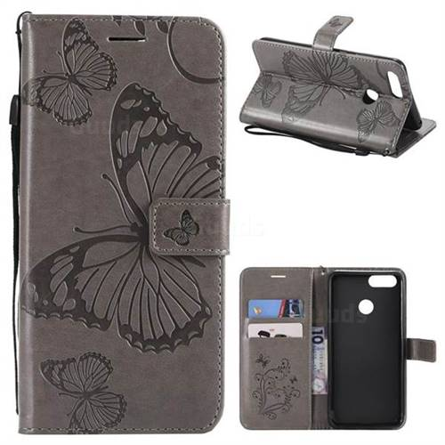 Embossing 3D Butterfly Leather Wallet Case for Huawei Honor 7X - Gray