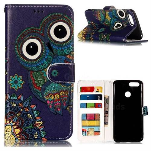 Folk Owl 3D Relief Oil PU Leather Wallet Case for Huawei Honor 7X