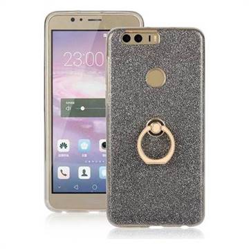 Luxury Soft TPU Glitter Back Ring Cover with 360 Rotate Finger Holder Buckle for Huawei Honor 8 - Black