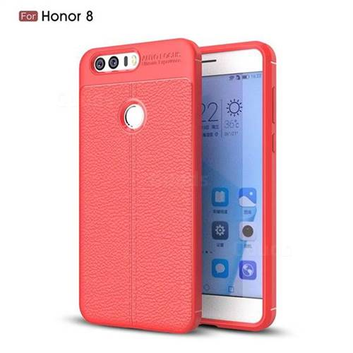 Luxury Auto Focus Litchi Texture Silicone TPU Back Cover for Huawei Honor 8 - Red